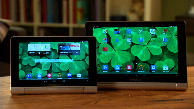The Lenovo Yoga 8 and 10's kickstands help these tablets stand up and out