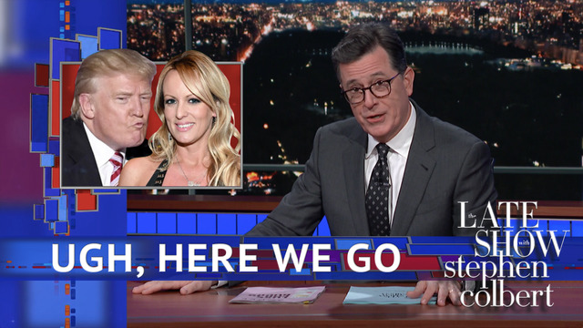 Image result for free to use image of colbert and stormy daniels