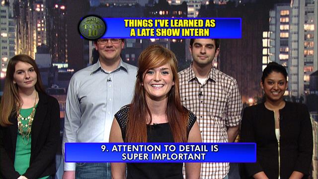 The Late Show: David Letterman - Late Show Intern Top Ten
