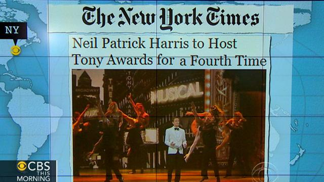 CBS This Morning What's Hot: Headlines at 8:30: Neil Patrick Harris to host Tony Awards