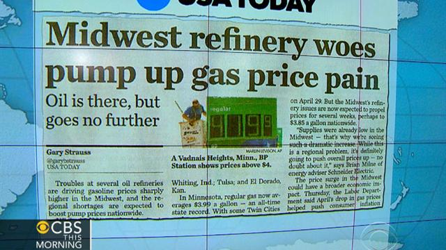 CBS This Morning What's Hot: Headlines: Oil refinery outages, repairs mean pain at the pump