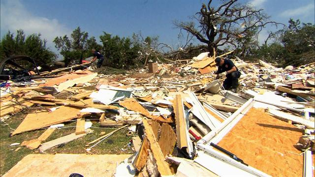 CBS Evening News: Texas tornado survivor found neighbor's house in backyard