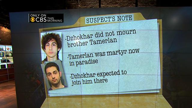 CBS This Morning: Boston Marathon bombing suspect left note: What did it say?