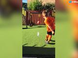 Kid crushes LEGENDARY water bottle flip trick shot