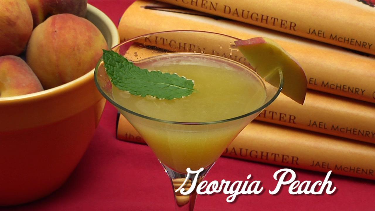 Jael McHenry prepares a Georgia Peach cocktail