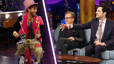 The Late Late Show with James Corden - Thomas Middleditch On a Tricycle Interrupts Ben Schwartz