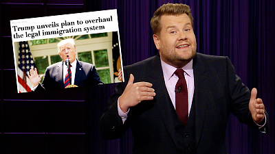 The Late Late Show with James Corden - President Trump Has Lots of Exams Planned for Immigrants