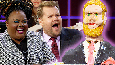 The Late Late Show with James Corden - Judging James Corden Cakes w/ 'Nailed It' Star Nicole Byer & Michael Douglas