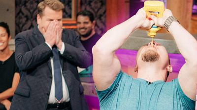 The Late Late Show with James Corden - Stage 56 Bar Tricks: Mustard Chugging