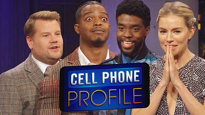 The Late Late Show with James Corden - Cell Phone Profile w/ Chadwick Boseman, Sienna Miller & Stephan James
