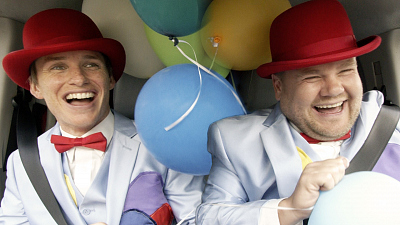The Late Late Show with James Corden - James & Eddie Redmayne Deliver Singing Balloon Telegrams