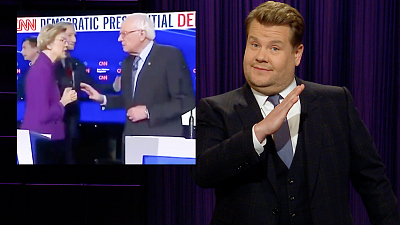 The Late Late Show with James Corden - What Did Sens. Warren & Sanders Say to Each Other?