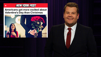 The Late Late Show with James Corden - James Corden Has Issues with Valentine's Day