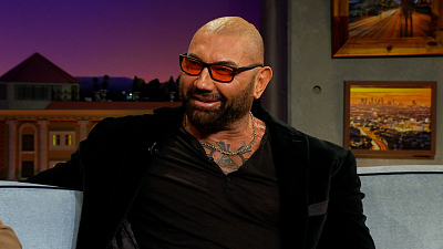 The Late Late Show with James Corden - Bear Grylls Taught Dave Bautista How To Make Fire With Pee