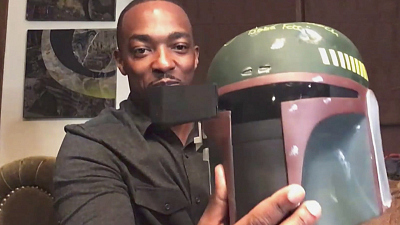 The Late Late Show with James Corden - Anthony Mackie's Boba Fett Motorcycle Helmet Rips