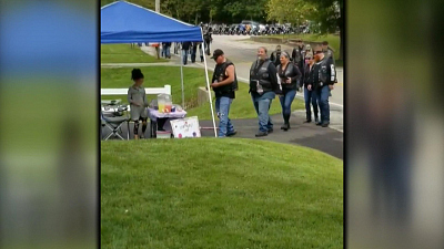CBS This Morning - Bikers, woman who helped after crash reunite