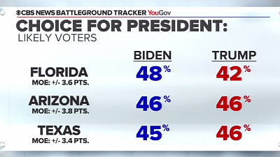 CBS This Morning - Biden up or close in key states, polls show